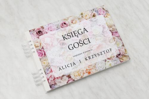 Księga gości ślubnych do zaproszenia Fotograficzne Kwiaty - Pudrowe Róże