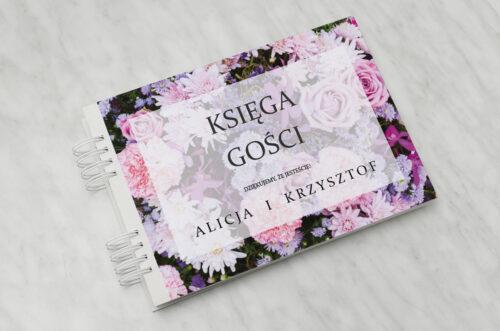 Księga gości ślubnych do zaproszenia Fotograficzne Kwiaty - Różowo-fioletowy bukiet