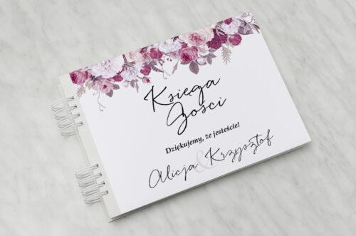 Księga gości ślubnych - Jednokartkowe z Kwiatami – Kwiecista kompozycja