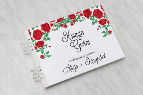 Księga gości do zaproszenia ze zdjęciem i sznurkiem – Róże z chusty