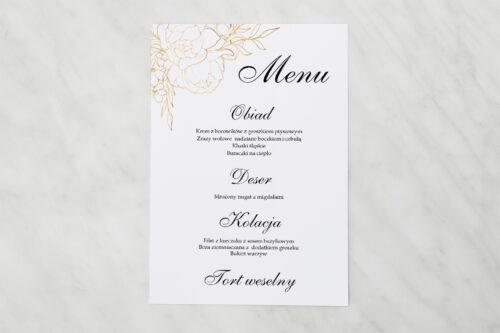 Menu weselne pasujące do zaproszenia Geometryczne Kwiaty - Złote Róże