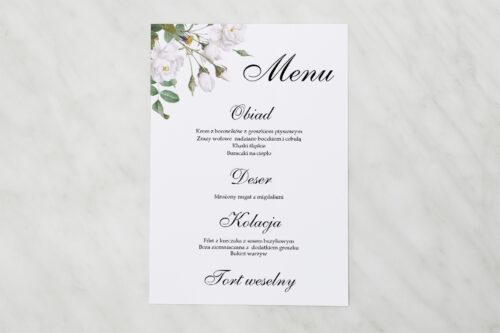 Menu weselne pasujące do zaproszenia Geometryczne Kwiaty - Białe Róże