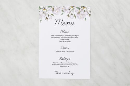 Menu weselne - Kwiaty Vintage – Białe Róże