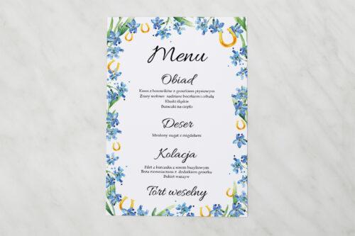 Menu weselne pasujące do zaproszenia Niezapominajka