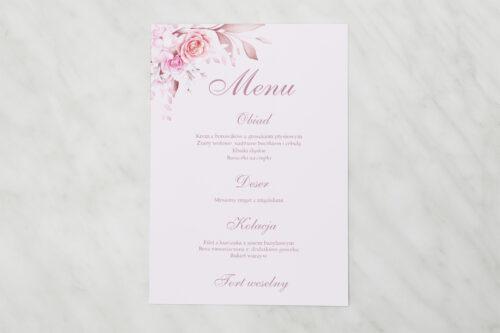 Menu weselne - Akwarelowe Bukiety – Róże na pudrowym tle