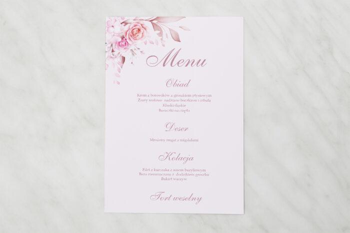 menu-weselne-akwarelowe-bukiety-roze-na-pudrowym-tle-papier-satynowany