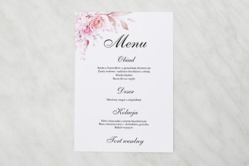 Menu weselne - Akwarelowe Bukiety – Róże na jasnym tle