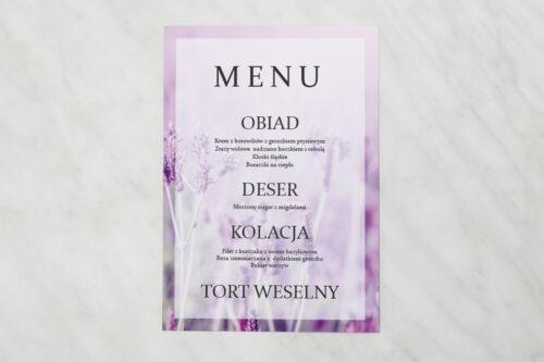 Menu weselne pasujące do zaproszenia Fotograficzne Kwiaty - Pole Lawendowe