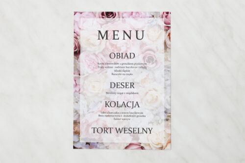 Menu weselne pasujące do zaproszenia Fotograficzne Kwiaty - Pudrowe Róże