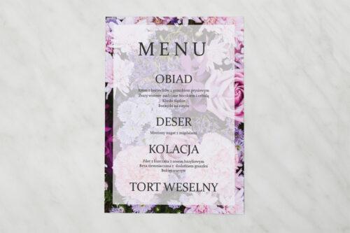 Menu weselne pasujące do zaproszenia Fotograficzne Kwiaty - Różowo-fioletowy bukiet