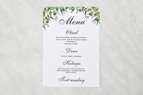 Menu weselne pasujące do zaproszenia Geometryczne Kwiaty - Liście Eukaliptusa