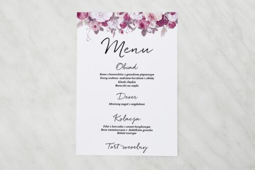 Menu weselne pasujące do zaproszenia Jednokartkowe z Kwiatami - Kwiecista kompozycja