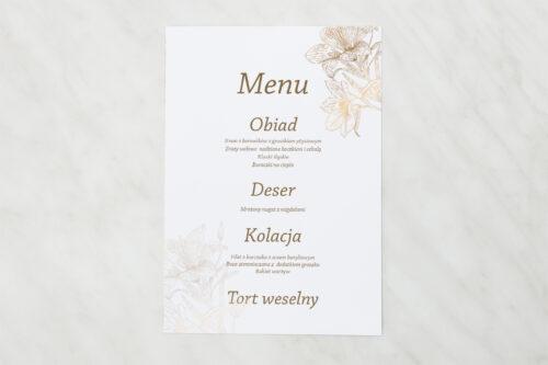 Menu weselne - Rysunkowe kwiaty - Lilie