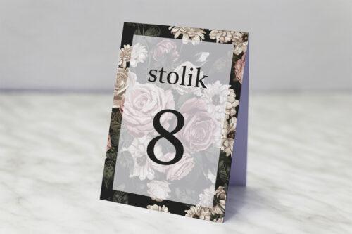 Numer stolika pasujący do zaproszenia Fotograficzne Kwiaty - Rysunkowe Kwiaty