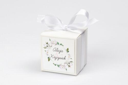 Pudełeczko z personalizacją do zaproszenia Kwiaty Vintage – Białe Róże
