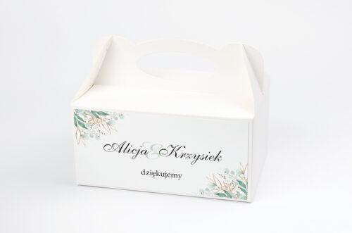 Ozdobne pudełko na ciasto - Geometryczne Kwiaty - Gałązki ze Złotem