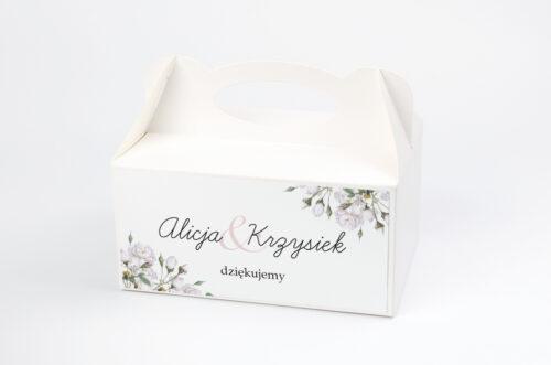 Ozdobne pudełko na ciasto - Kwiaty Vintage – Białe Róże