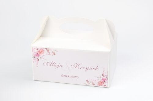 Ozdobne pudełko na ciasto - Akwarelowe Bukiety – Róże na pudrowym tle