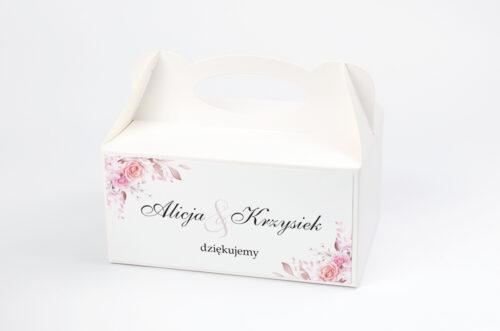 Ozdobne pudełko na ciasto - Akwarelowe Bukiety – Róże na jasnym tle