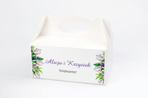 Ozdobne pudełko na ciasto - Kwiaty z nawami – Biało-fioletowe krokusy