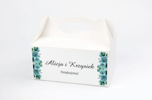 pudełko na ciasto z błękitnymi różami