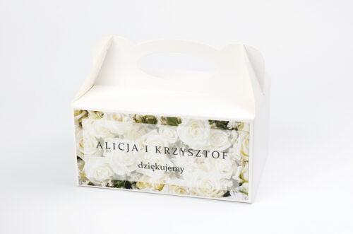 Ozdobne pudełko na ciasto - Fotograficzne Kwiaty - Białe Róże