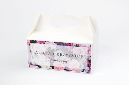 Ozdobne pudełko na ciasto - Fotograficzne Kwiaty - Różowo-fioletowy bukiet
