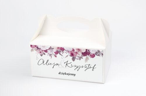 Ozdobne pudełko na ciasto - Jednokartkowe z Kwiatami – Kwiecista kompozycja