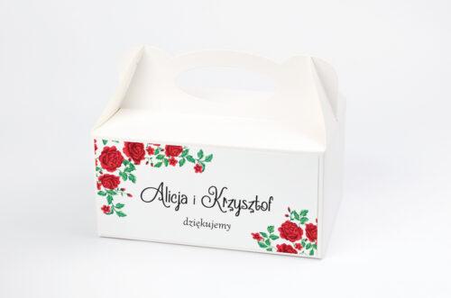 Pudełko na ciasto do zaproszenia ze zdjęciem i sznurkiem - Róże z chusty