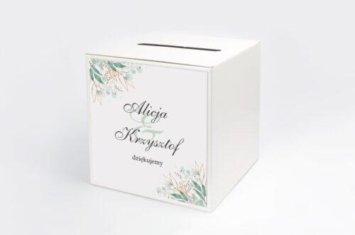 Personalizowane pudełko na koperty - Geometryczne Kwiaty - Gałązki ze Złotem