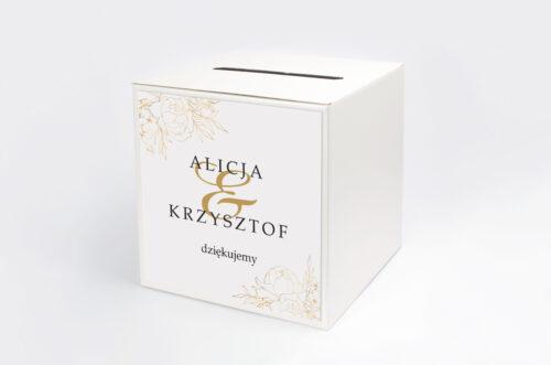 Personalizowane pudełko na koperty - Geometryczne Kwiaty - Złote Róże