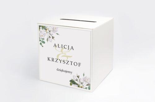 Personalizowane pudełko na koperty - Geometryczne Kwiaty - Białe Róże