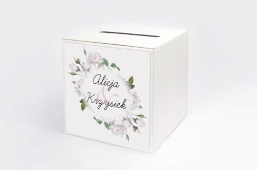 Pudełko na koperty do zaproszenia Kwiaty Vintage – Białe Róże