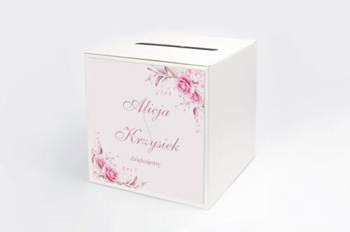 Pudełko na koperty do zaproszenia Akwarelowe Bukiety – Róże na pudrowym tle