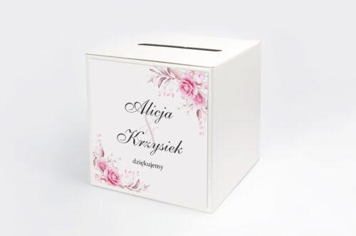 Pudełko na koperty do zaproszenia Akwarelowe Bukiety – Róże na jasnym tle