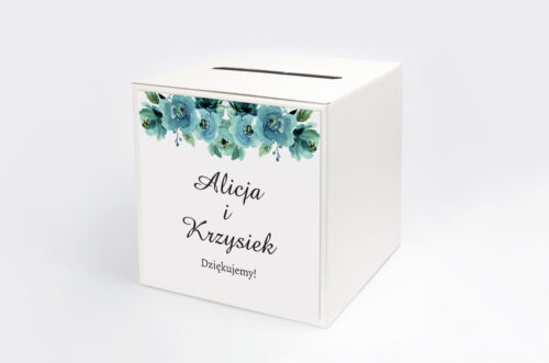 Pudełko na koperty do zaproszenia Kwiaty z Nawami - Błękitne Róże