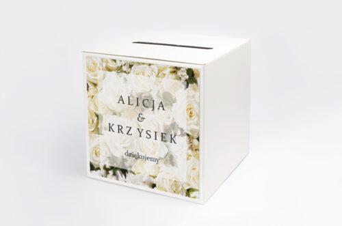 Pudełko na koperty do zaproszenia Fotograficzne Kwiaty - Białe Róże
