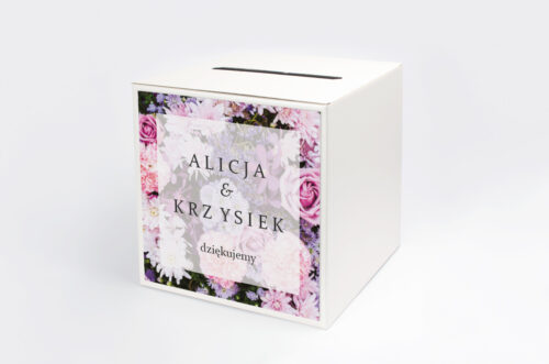 Pudełko na koperty do zaproszenia Fotograficzne Kwiaty - Różowo-fioletowy bukiet