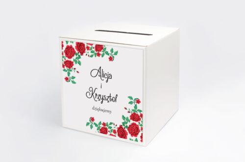 Personalizowane pudełko na koperty do zaproszenia ze zdjęciem i sznurkiem - Róże z chusty
