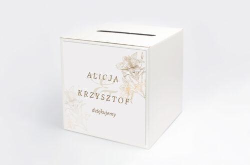 Personalizowane pudełko na koperty - Rysunkowe kwiaty - Lilie