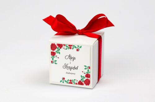 Ozdobne pudełeczko z personalizacją do zaproszenia ze zdjęciem i sznurkiem - Róże z chusty