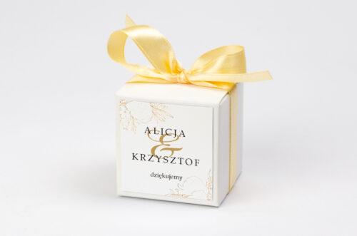 Pudełeczko z personalizacją do zaproszenia - Geometryczne Kwiaty - Złote Róże