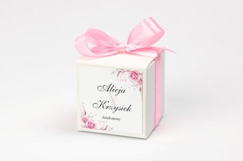 Pudełeczko na krówki z personalizacją do zaproszenia Akwarelowe Bukiety – Róże na jasnym tle
