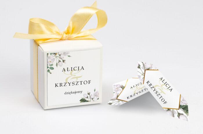 Pudełeczko z personalizacją do zaproszenia - Geometryczne Kwiaty - Białe Róże