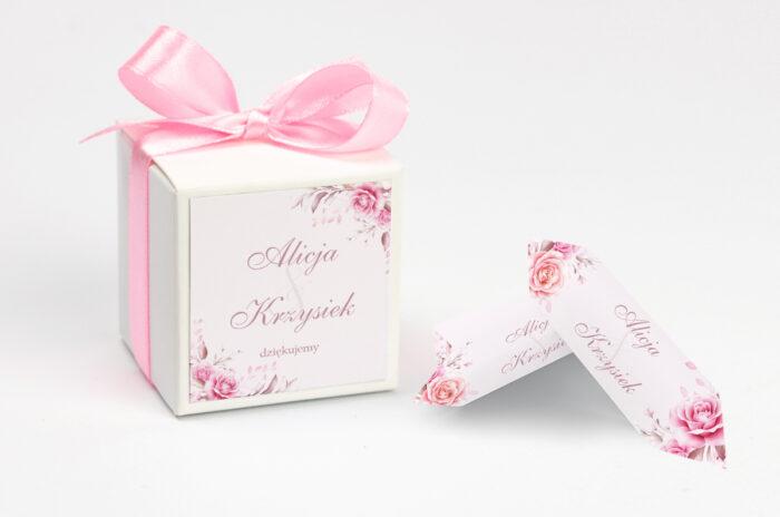 Pudełeczko z personalizacją do zaproszenia Akwarelowe Bukiety – Róże na pudrowym tle