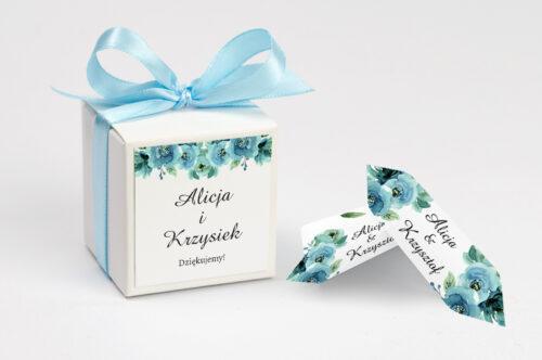 Ozdobne pudełeczko na krówki z personalizacją - Kwiaty z Nawami - Błękitne Róże