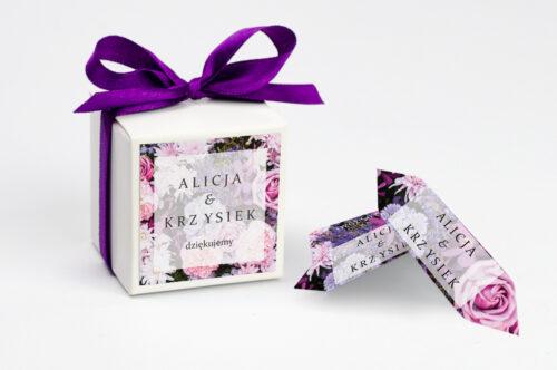 Ozdobne pudełeczko z personalizacją - Fotograficzne Kwiaty - Różowo-fioletowy bukiet