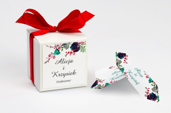 Ozdobne pudełeczko na krówki z personalizacją - Kwiaty z Nawami - Kolory Jesieni