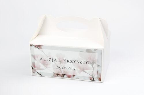 Ozdobne pudełko na ciasto - Fotograficzne Kwiaty - Subtelna Magnolia