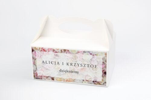 Ozdobne pudełko na ciasto - Fotograficzne Kwiaty - Pudrowe Róże